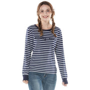 Women's Stripe Round Neck Sweatshirt S M L XL Pink Navy Grey