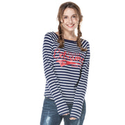 Women's Stripe Raglan Sweatshirt S M L XL Pink Navy Grey