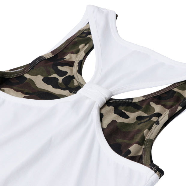 Sleevless Gym Shirts Double Layer Camo Inner Tank Top