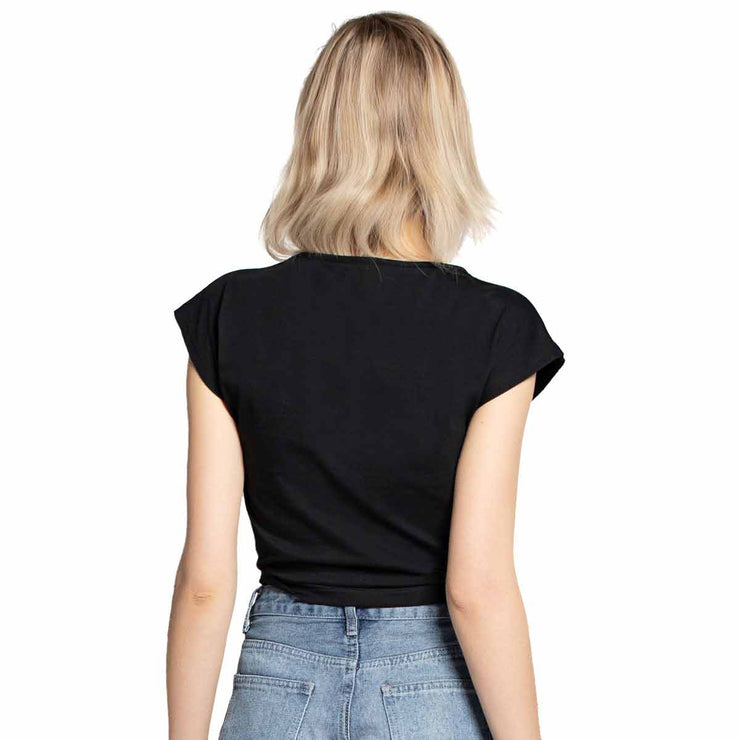 Women's Cotton Off Shoulder Sleeve Cropped T-Shirt