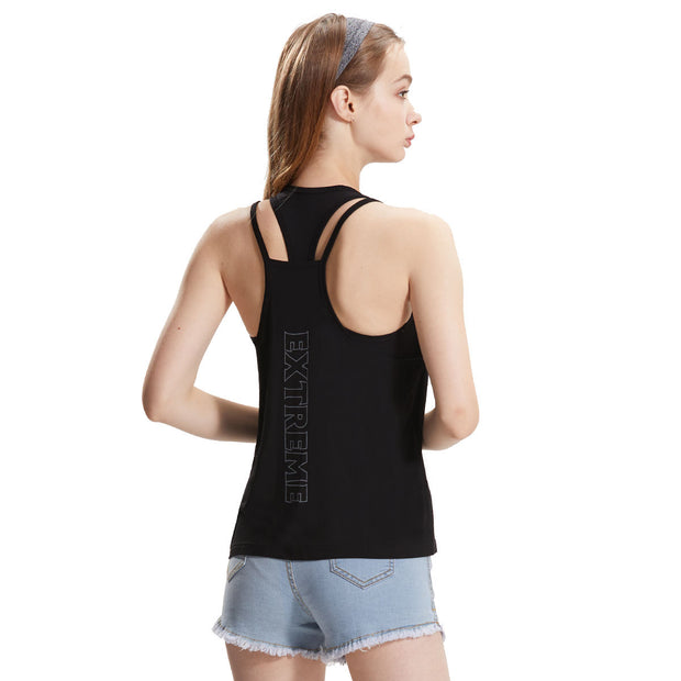 Womens gym tank top racerback reflective print yoga lady shirt