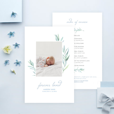 Funeral Service Program Template for Baby or Child | No. 002