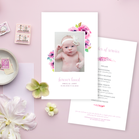 Funeral Service Program Template for Baby or Child | No. 003