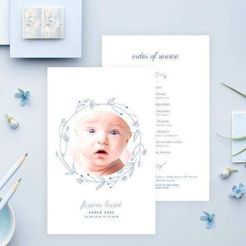 Funeral Service Program Template for Baby or Child | No. 005