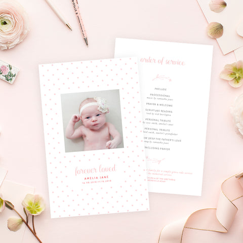 Funeral Service Program Template for Baby or Child | No. 007