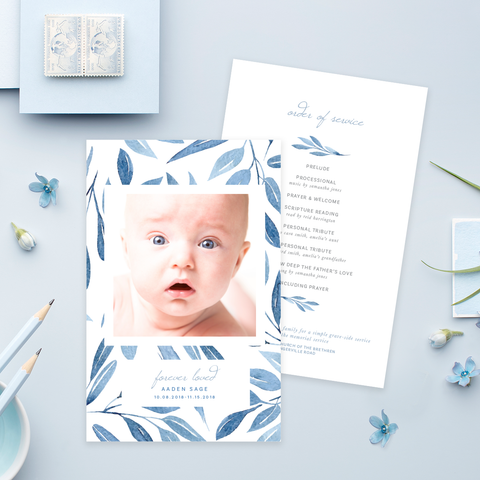 Funeral Service Program Template for Baby or Child | No. 011