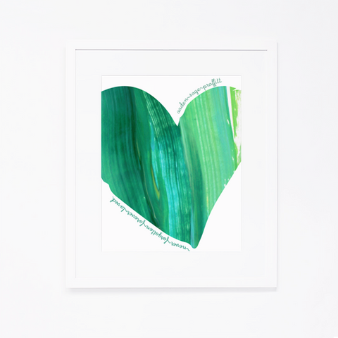 Personalized Birthday Project Print | Green Heart with Name