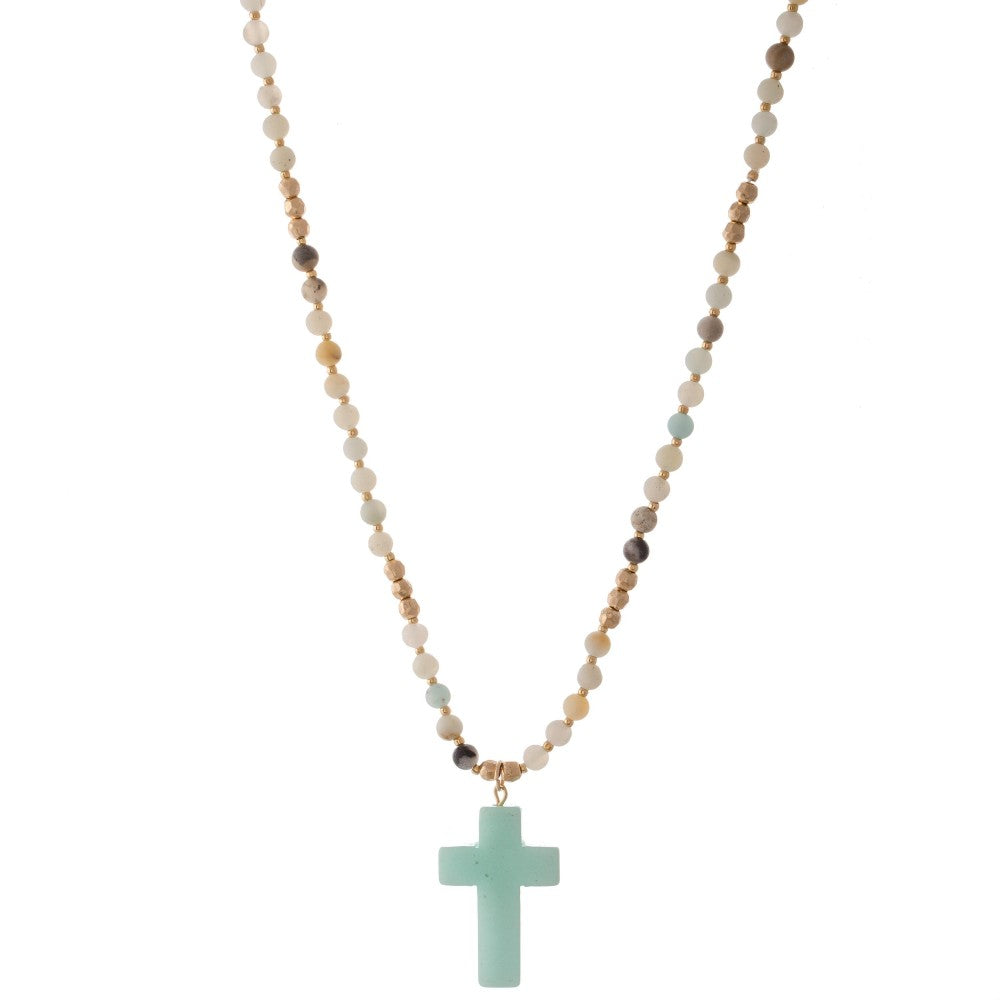 Mint Beaded Natural Stone Cross Necklace