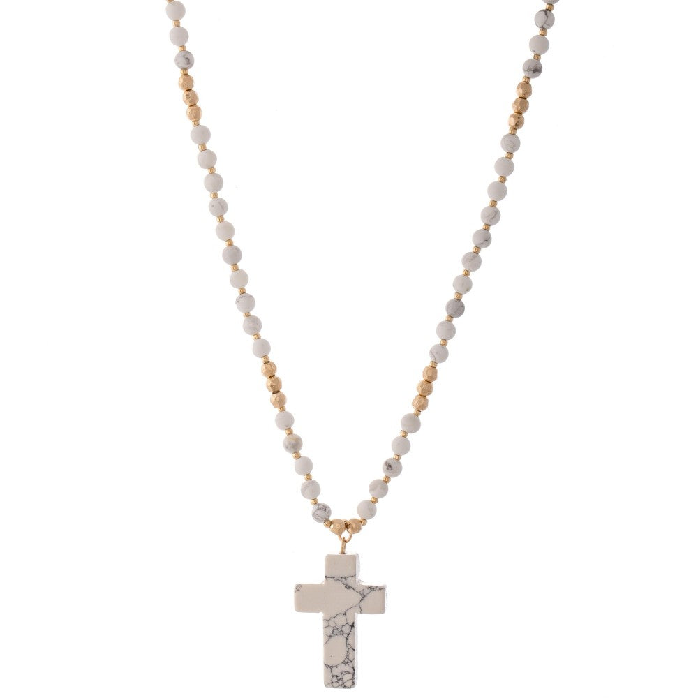 White Beaded Natural Stone Cross Necklace