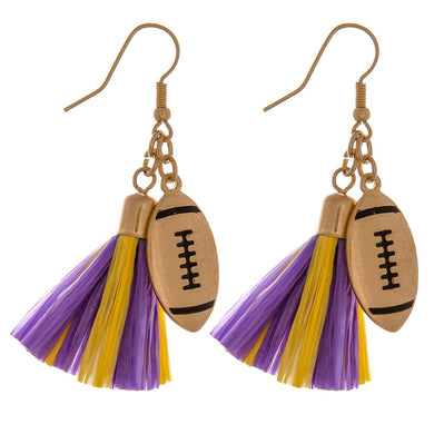 Purple and Gold Tassel Drop Earrings with Football Charms