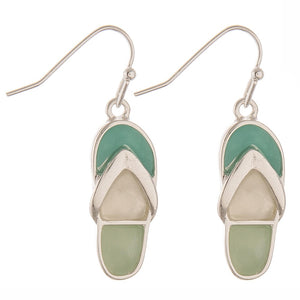Flip Flop Earrings Sea Glass