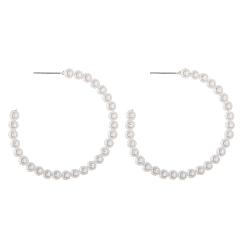 Flexible Faux Pearl Beaded Open Hoop Earrings