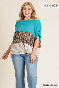 Turquoise Off Shoulder Animal Print Colorblocked Top