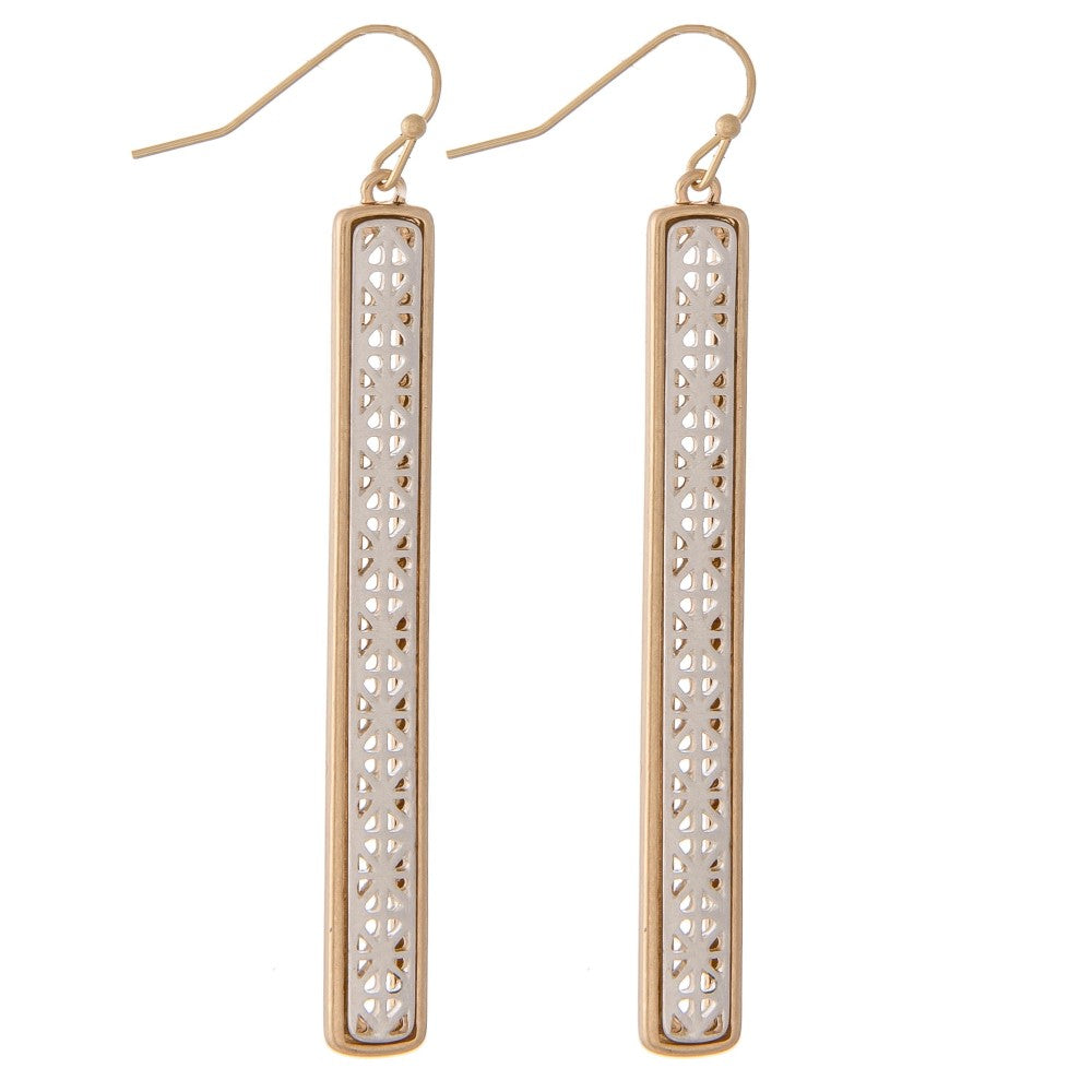 Gold/Silver Two Tone Filigree Bar Earrings