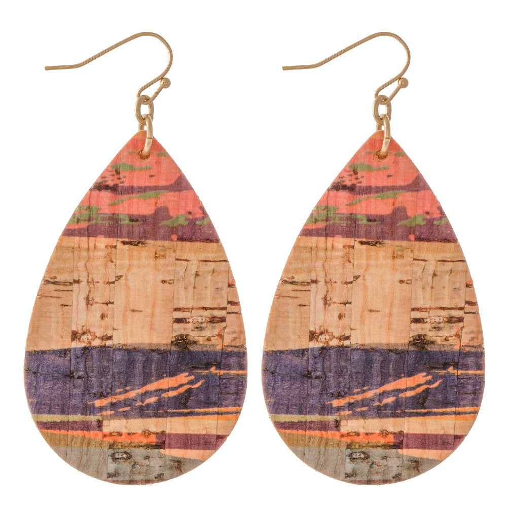 Serape Cork Teardrop Earrings