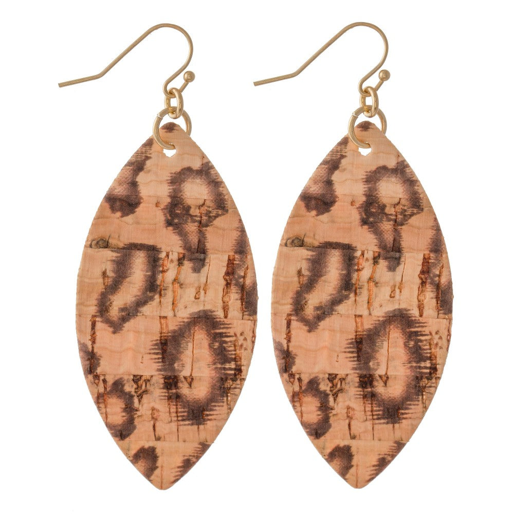 Leopard Print Cork Drop Earrings