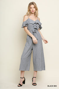 Striped Ruffle Open Shoulder Jumpsuit