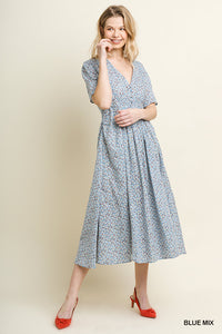 Floral Print Short Puff Sleeve Button V-Neck Dress