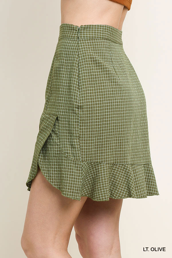 Checkered Print High Waist Skirt