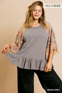 Mocha Gray \ Floral Paisley Mixed Print Bell Sleeve Waffle Knit Top with Ruffle Trim