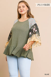 Olive Waffle Knit Top with Floral Paisley Mixed Print Bell Sleeve and Ruffle Trim