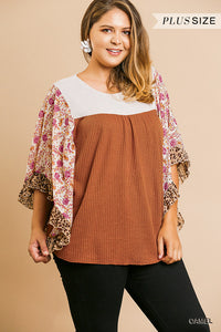 Sheer Floral Mixed Print Dolman Sleeve Waffle Knit Yoke Top With Scoop Hem