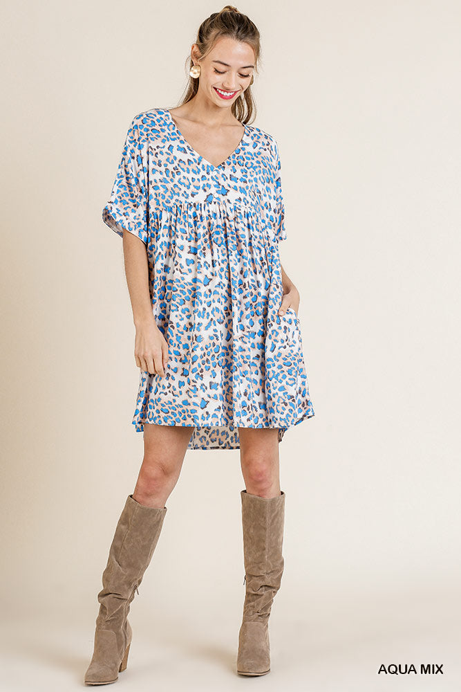 Aqua Mix Animal Print Dress