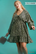 Animal Print Long Puff Sleeve Neck Tie Dress