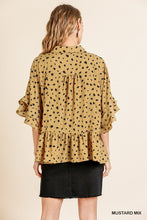 Dalmatian Print Ruffle Bell Sleeve Button Front Top