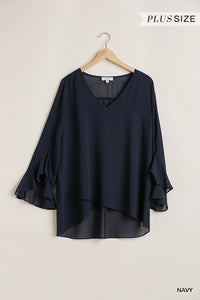 V Neck Top with Long Ruffled Sleeves