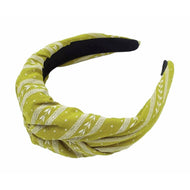 Mustard Green Twisted Turkish Print Headband