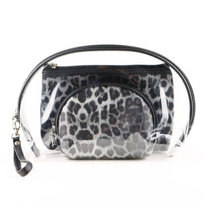 Black Leopard Print Clear 3pc Travel Pouch Set