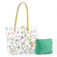 Spring Blue Bird Clear Plastic Tote w/ Pouch - Yellow/Green