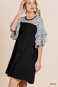Striped Layered Ruffle Sleeve Round Neck Dress with Pockets