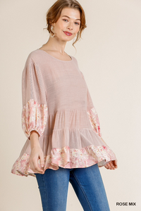 Rose Floral Print Puff Sleeve Top