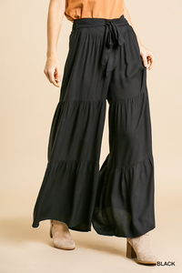 Black High Waist Tiered Ruffle Wide Leg Pant with Waist Tie