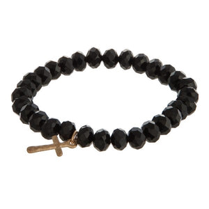 Cross Faceted Bead Bracelet Black