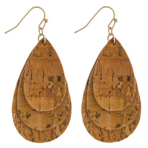 Yellow Trio Layered Cork Earrings