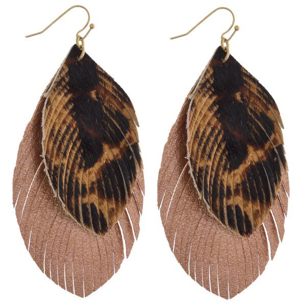 Leopard Print Metallic Leaf-Shaped Layered Earrings