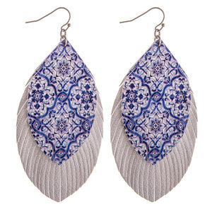 Blue/Silver Layered Faux Leather Feather Earrings