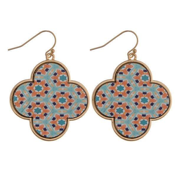 Wood Clover Multi-Print Earrings