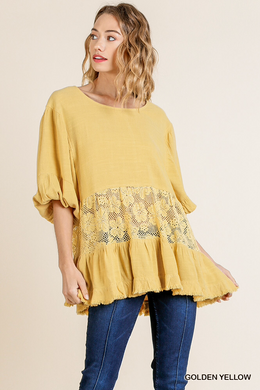 Golden Yellow Tunic With Floral Lace