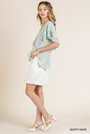 Sage Ruffle Sleeve V-Neck Top