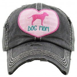 "Heart ""Dog Mom"" Vintage Wash Cap"