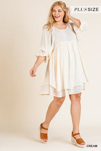 Cream Ruffle Sleeve Layered Hem Dress