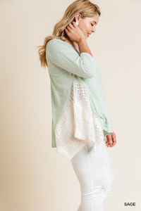 Sage 3/4 Sleeve Top With Lace Sharkbite Hem