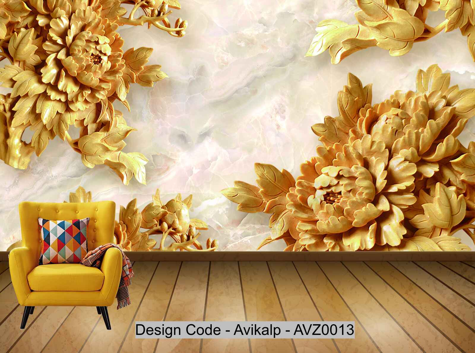 Avikalp Exclusive Avz0013 Chinese Style 3d Marble Peony Flower Tv