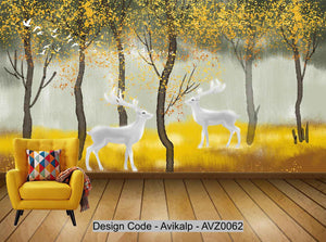 Avikalp Exclusive AVZ0062 Nordic Golden Abstract Tree Elk Landscape Background Wall HD 3D Wallpaper