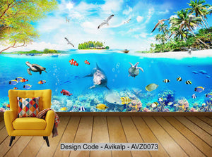 Avikalp Exclusive AVZ0073 Simple Modern Underwater World Children's Cartoon Wall HD 3D Wallpaper