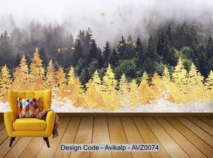 Avikalp Exclusive AVZ0074 New Modern Minimalistic Hand Drawn Golden Woods Flying Birds Abstract Background Wall HD 3D Wallpaper